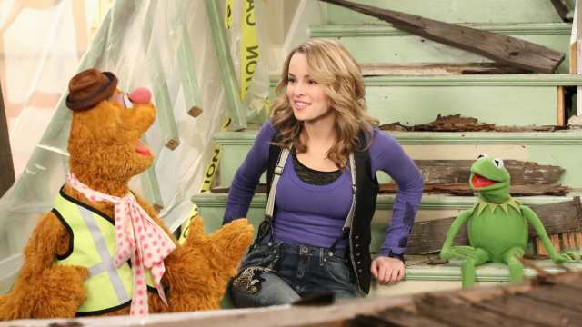 Fozzie Bear, Bridgit Mendler and Kermit the Frog in Good Luck Charlie