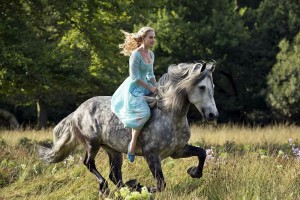 Cinderella on her Horse in 2015 movie